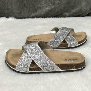 💥JBU by Jambu metallic criss cross cork sandals